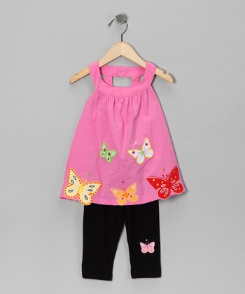 Pink Butterfly Yoke Tunic & Leggings - Toddler & Girls