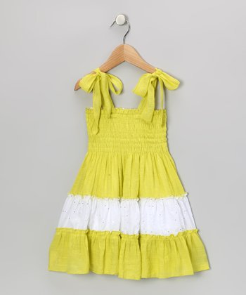 Lime & White Sequin Convertible Dress - Toddler & Girls