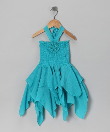 Lele for Kids Blue Halter Handkerchief Dress - Toddler & Girls