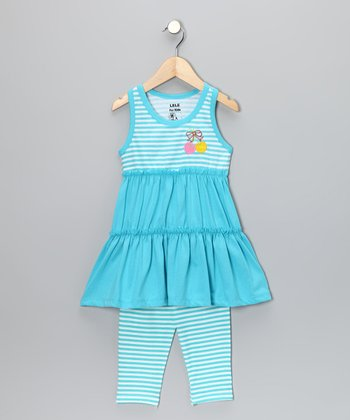 Aqua Stripe Tunic & Leggings - Toddler & Girls