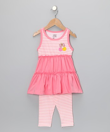 Coral Stripe Tunic & Leggings - Toddler & Girls