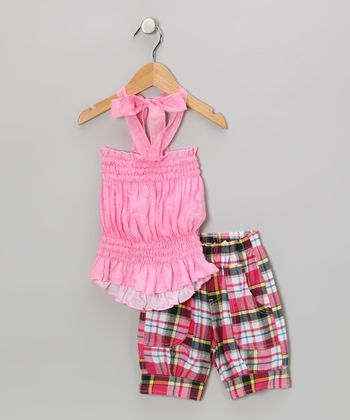 Light Pink Halter Top & Plaid Capri Pants - Toddler & Girls