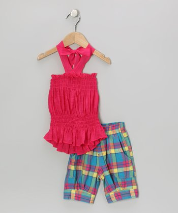 Fuchsia Halter Top & Plaid Capri Pants - Toddler & Girls