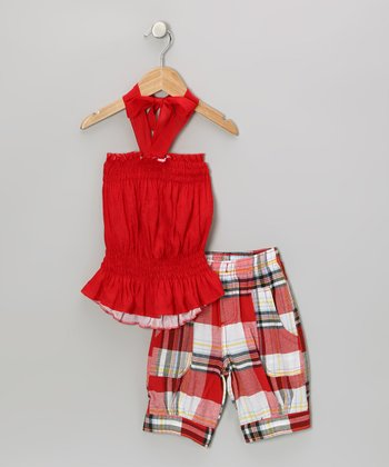 Red Halter Top & Plaid Capri Pants - Toddler & Girls
