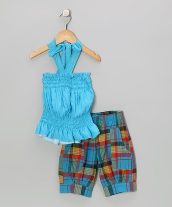 Teal Halter Top & Plaid Capri Pants - Toddler & Girls