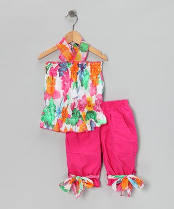 Hot Pink Floral Halter Top & Shorts - Girls