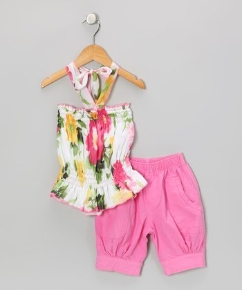 Pink & Yellow Floral Halter Top & Capri Pants - Toddler & Girls