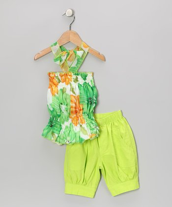 Lime & Orange Floral Halter Top & Capri Pants - Toddler & Girls