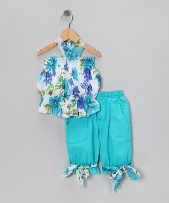 Turquoise Floral Halter Top & Shorts - Girls