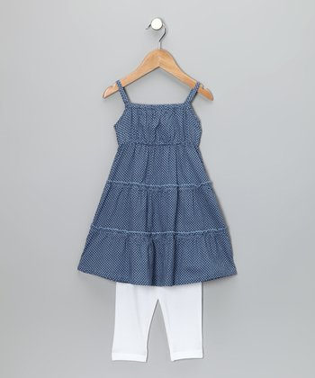 Blue Polka Dot Tunic & Leggings - Toddler & Girls