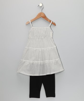 White Pin Dot Tunic & Leggings - Toddler & Girls