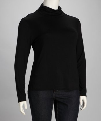 Black Ruched Plus-Size Turtleneck