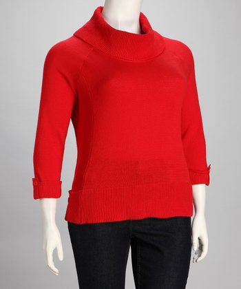 Fiery Red Plus-Size Cowl Neck Sweater