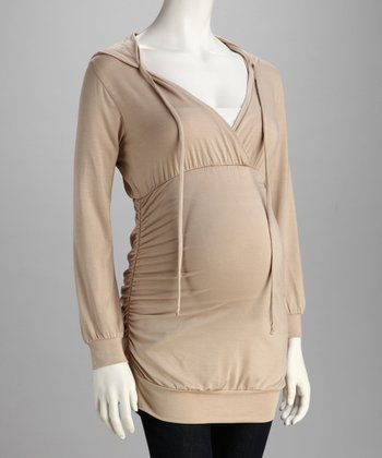 Beige Hooded Maternity Top - Women