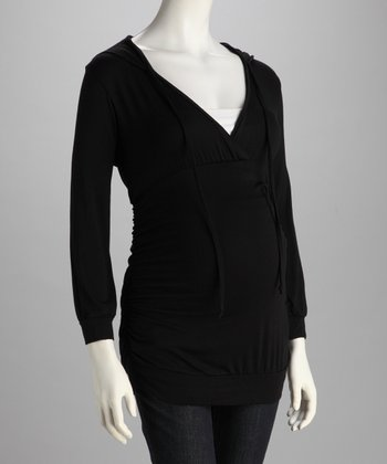 Black Hooded Maternity Top
