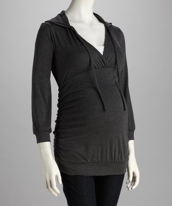 Charcoal Hooded Maternity Top - Women