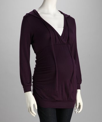 Purple Hooded Maternity Top