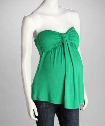 Green Maternity Strapless Top
