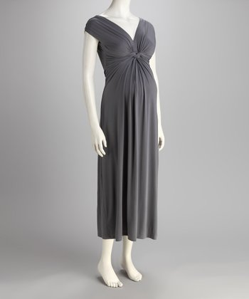 Gray Knotted Maternity Maxi Dress
