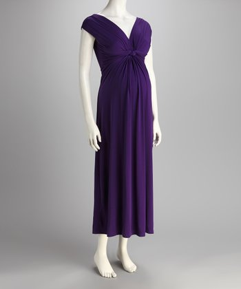 Purple Knotted Maternity Maxi Dress