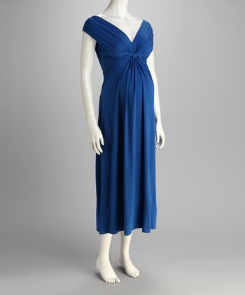 Royal Blue Knotted Maternity Maxi Dress