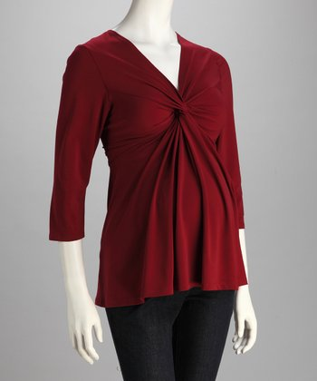 Burgundy Knotted Maternity Top - Women