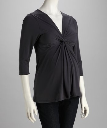 Charcoal Knotted Maternity Top - Women