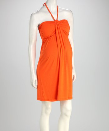 Orange Maternity Halter Dress