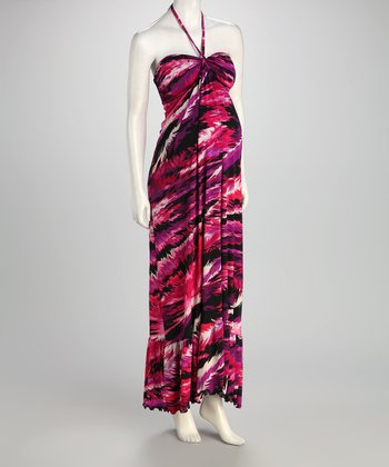 Fuchsia Abstract Maternity Maxi Dress