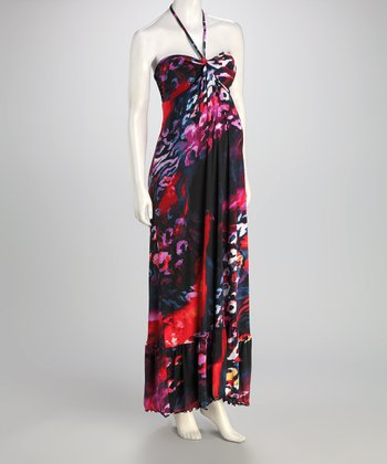 Purple Abstract Maternity Maxi Dress