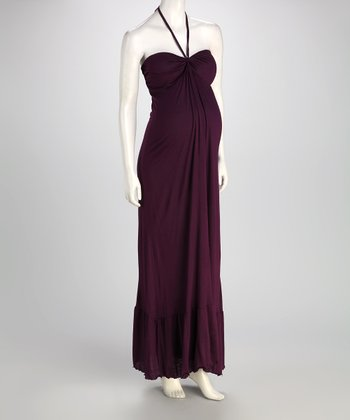 Purple Maternity Halter Maxi Dress