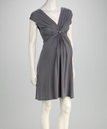 Gray Knot Maternity Dress - Women
