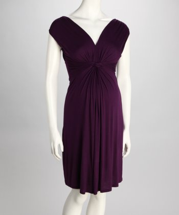Purple Knotted Maternity Dress - Women