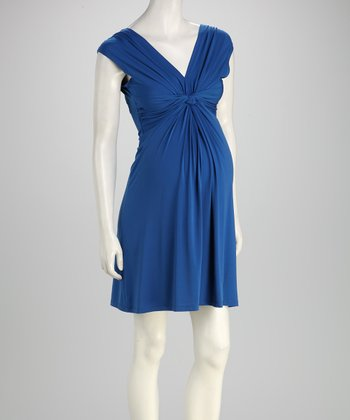Blue Knot-Front Maternity Sleeveless Dress