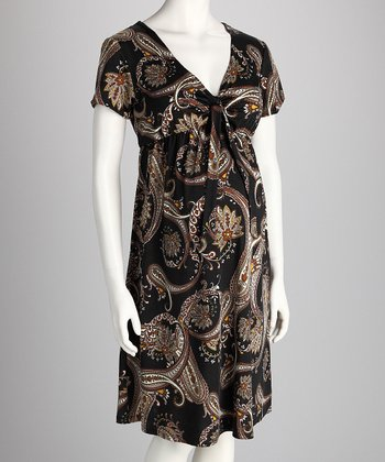 Black Paisley Maternity Dress