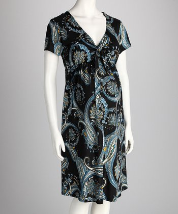 Blue Paisley Maternity Dress