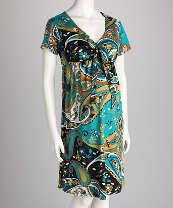 Green Paisley Maternity Dress