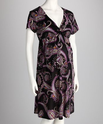Mauve Paisley Maternity Dress