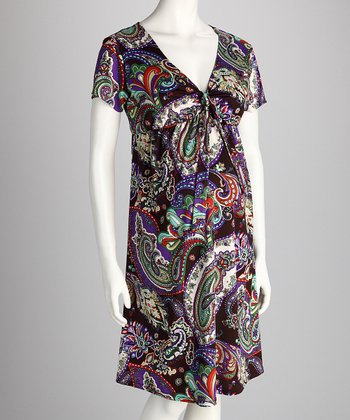 Purple Paisley Maternity Dress