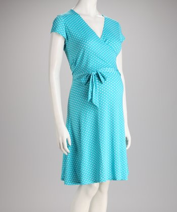 Aqua Dot The Perfect Wrap Maternity Dress