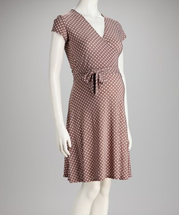 Mocha Dot The Perfect Wrap Maternity Dress