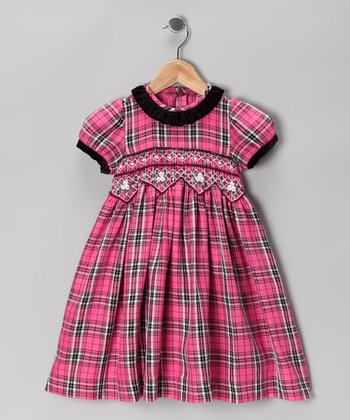 Pink Plaid Smocked Dress - Infant