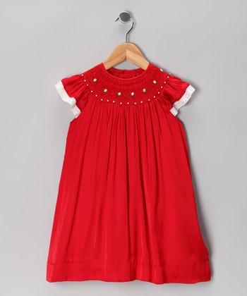 Red Flower Smocked Angel-Sleeve Dress - Infant