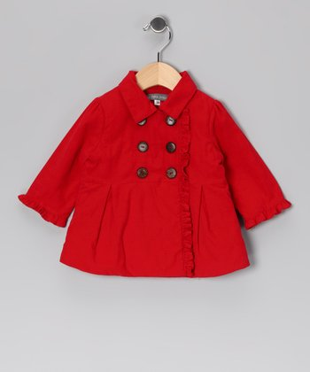Red Corduroy Double-Breasted Peacoat - Toddler