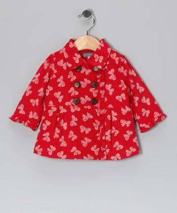 Red Bow Corduroy Double-Breasted Peacoat - Infant & Toddler