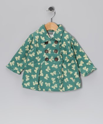 Mint Bow Corduroy Double-Breasted Peacoat - Infant & Toddler