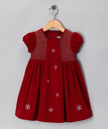 Red Snowflake Smocked Corduroy Dress - Infant & Toddler