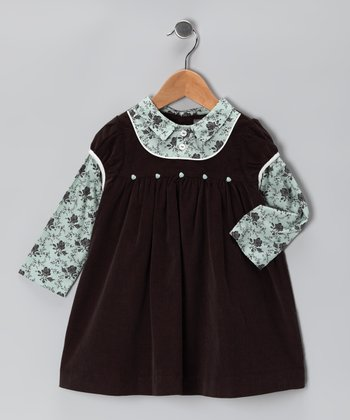 Brown & Sage Floral Corduroy Layered Dress - Infant