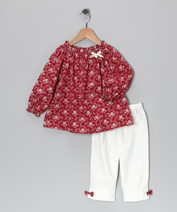 Red Floral Peasant Top & White Pants - Infant & Toddler