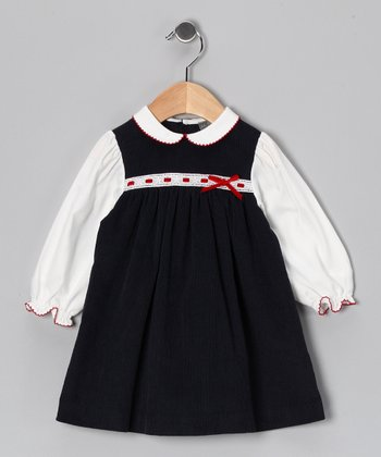 Navy Ribbon Corduroy Dress - Infant